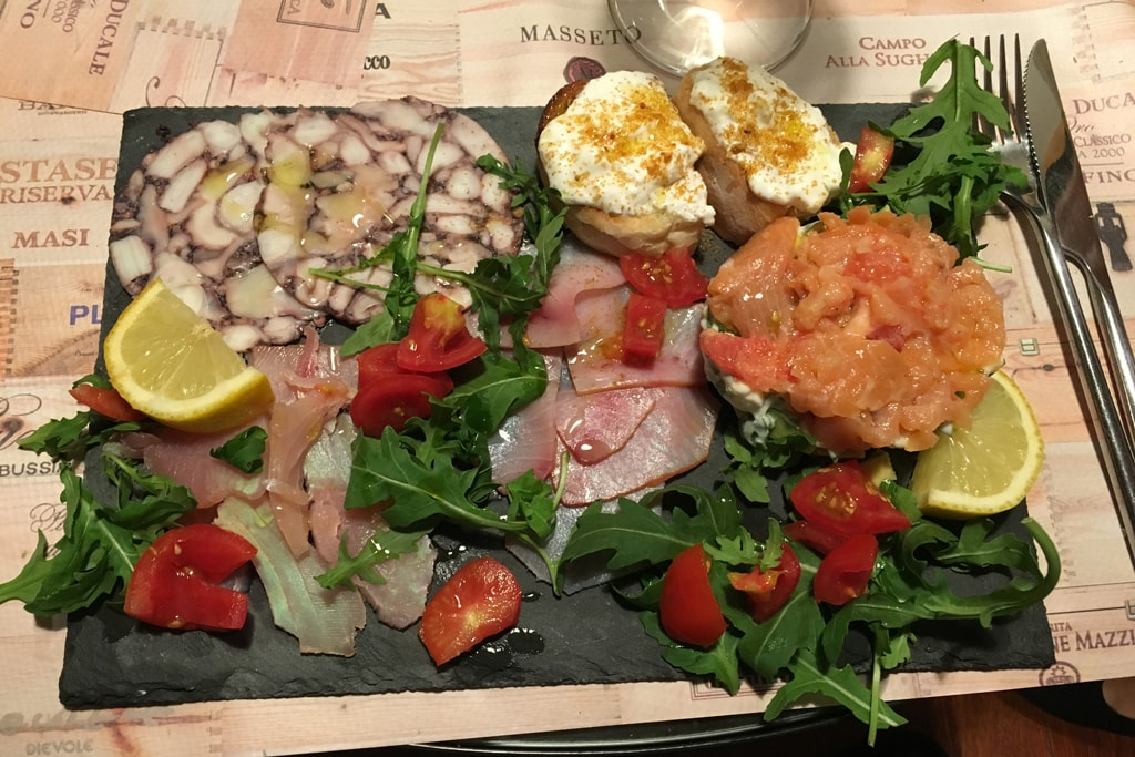 Tray of carpaccio fish