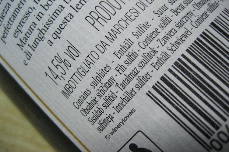 Sulfites in wine Marchesi di Barolo label