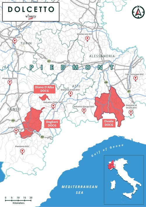 Dolcetto Piedmont DOCG Map